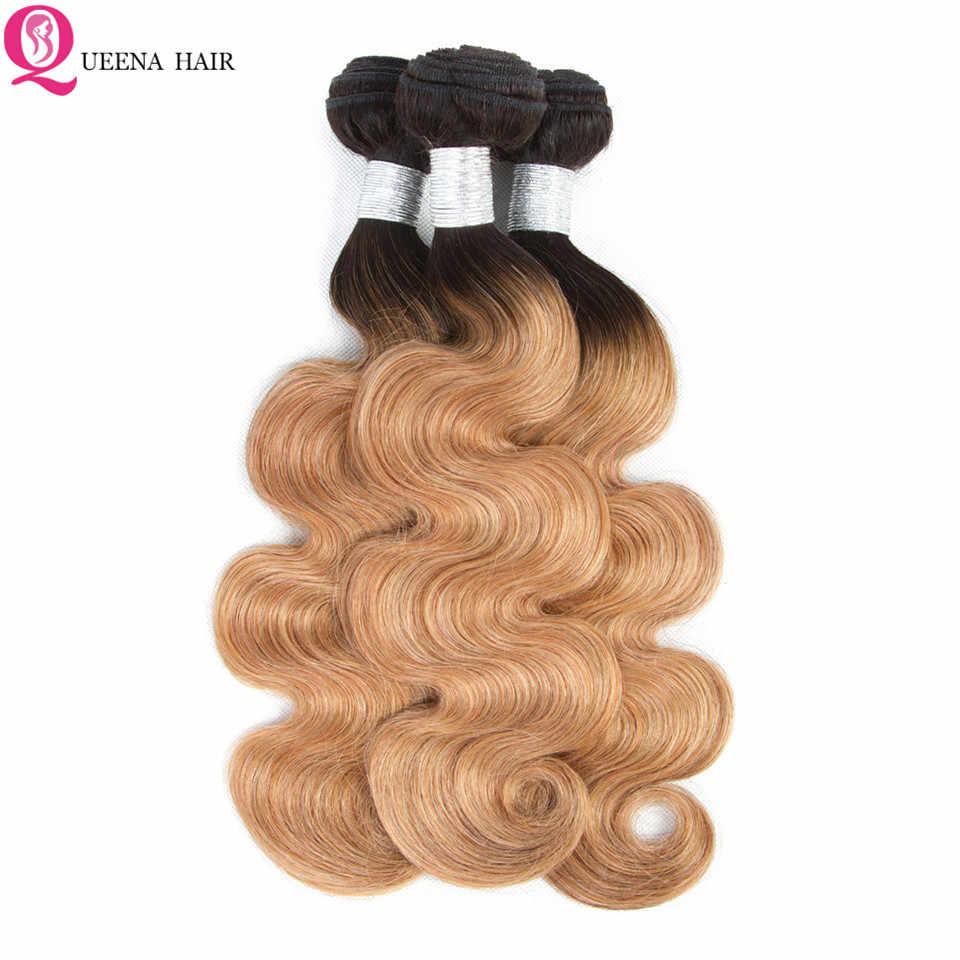 1B/27 kambodżańskie włosy czołowa koronki z wiązek oferty włosy typu body wave Ombre miód blond wiązki z Frontal zamknięcie kolorowe Remy