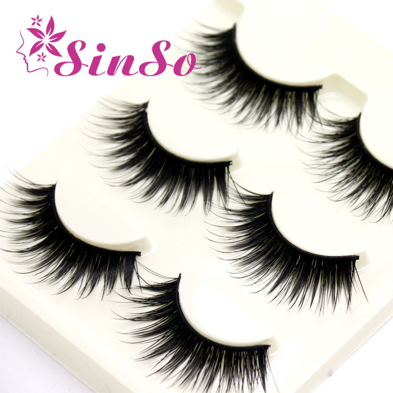 SinSo 3D Mink Eyelashes Strips Thick Cross 3 Pairs of Natural False Eyelash 3D Eyelash Extensions Cosmetics Makeup Toos Set Kit