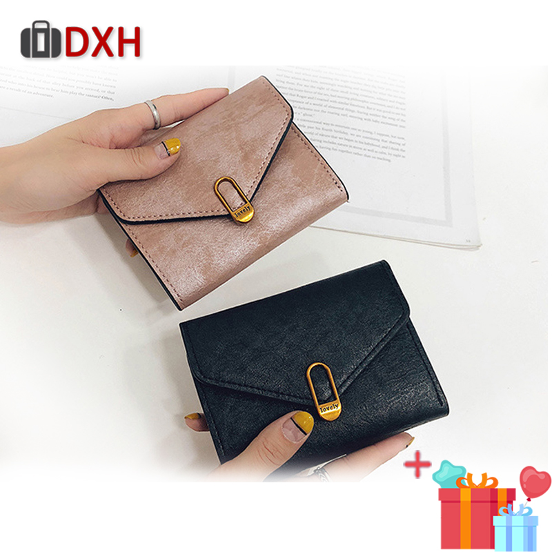 Fashion 2019 New Women's Wallets Female Short Small Cash Purses Retro Hasp Synthetic Leather/Pu Women Coin Wallet Card Dxh 3fold