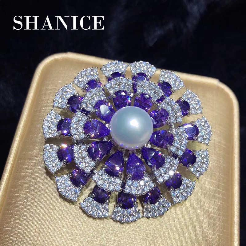 Shanice 2018 Mewah Wanita Kualitas Tinggi Wanita Bunga Besar Mutiara Zirkon Ungu Penuh Kristal Bros Pernikahan Hadiah Wanita Fine Jewelry