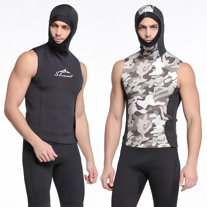 Sbart 3mm Neoprene Men KeepWarm Wetsuit Hooded Vest Anti jellyfish surfing Diving Suit Swimsuit snorkeling Sunscreen sbart anti upf50 rashguard 932