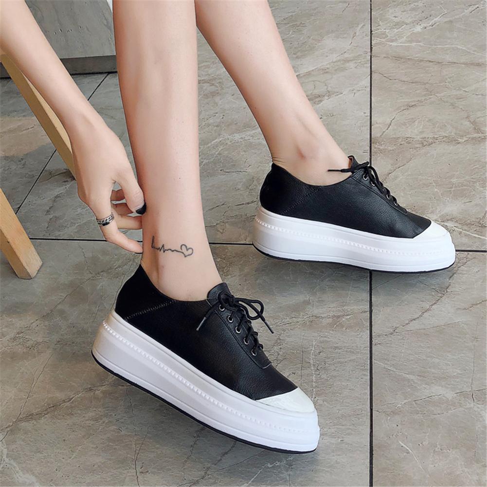 Luxury genuine Cow Leather Hot INS Sneakers Woman Shoes Lace Up Flat Platform Comfortable Shoes Woman VulcanizeLuxury genuine Cow Leather Hot INS Sneakers Woman Shoes Lace Up Flat Platform Comfortable Shoes Woman Vulcanize