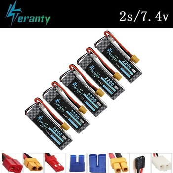 Teranty Power 7.4V 2200mAh Lipo Battery For RC Toys Car Boats Helicopter Parts 2s Lithium battery 7.4v Drone Battery 5Pcs/Sets