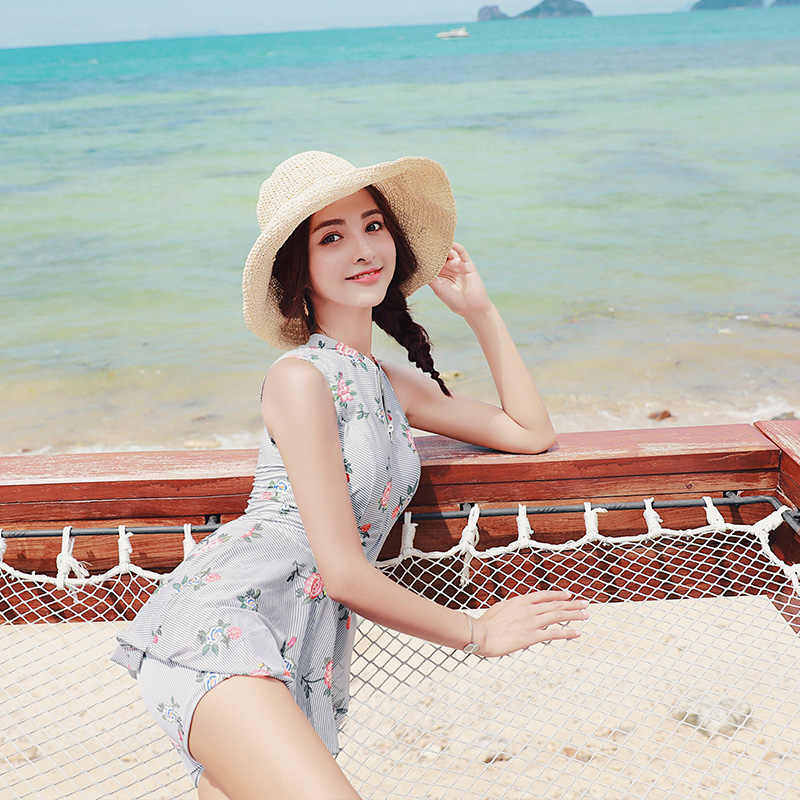 ea396e634558b New 2018 Women Swimsuit Printing Push Up Skirted Bathing Suit Beach Cover Up  One Piece Beach