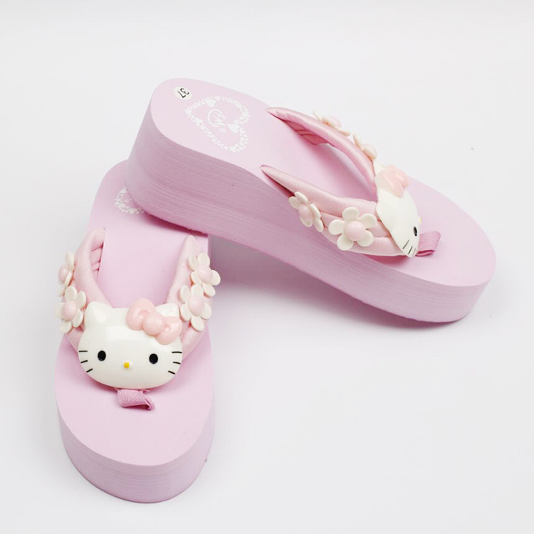 Hello Kitty Wedge Flip Flop Slippers 2