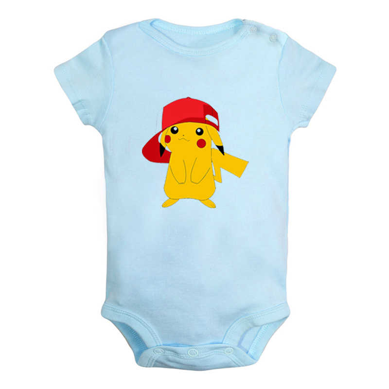 Wearing Ash Hat Pikachu Pokemon Design Newborn Baby Boys Girls Outfits Jumpsuit Print Infant Bodysuit Clothes Cotton Sets