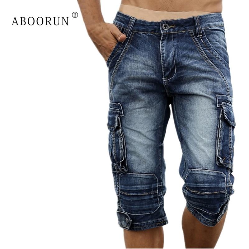 ABOORUN Summer Mens Cargo Denim   Shorts   Multi Pockets Retro Washed Cotton Jeans   Shorts   for Men YC1070