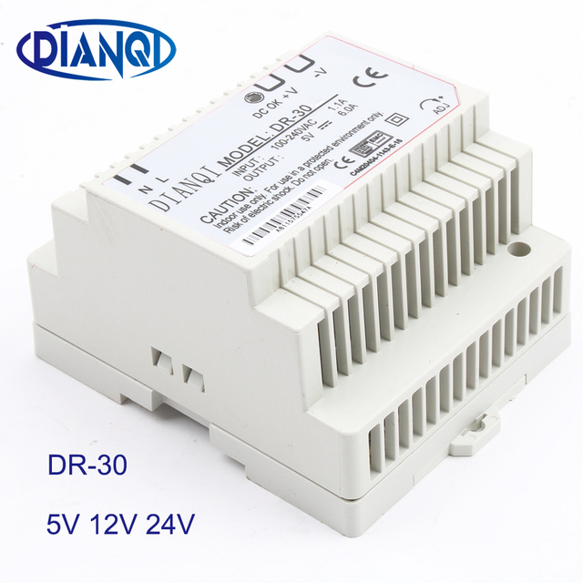 DIANQI 12V Din rail Single output Switching power supply 30w  5V  suply 24v ac dc converter for LED Strip other dr-30 DR-30