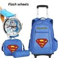 New Super Man Children School Bags Trolley Backpacks For Boys Kids Luggage Bag On Wheels Backpack Men bolsas mochila infantil