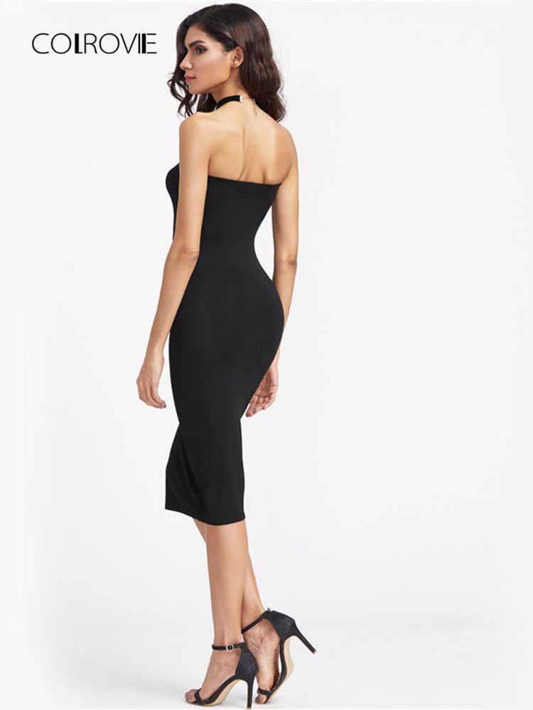COLROVIE бандо вечерние платья женское черное без бретелек сексуальное облегающее миди летнее платье модное короткое тонкое элегантное платье для клуба