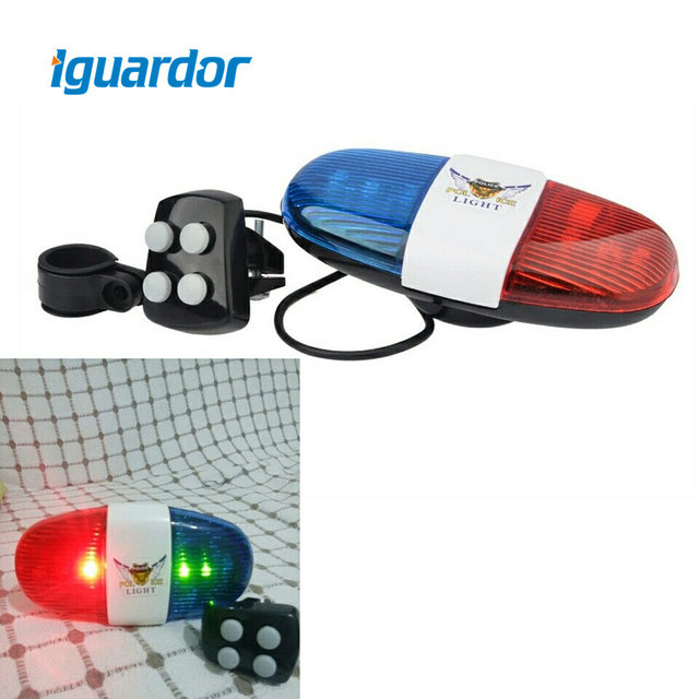 Iguardor Bicycle Bell 6 LED 4 Tone Sounds Bike Police Light and Electronic Horn Siren Gift For Children Accessories For Scooter