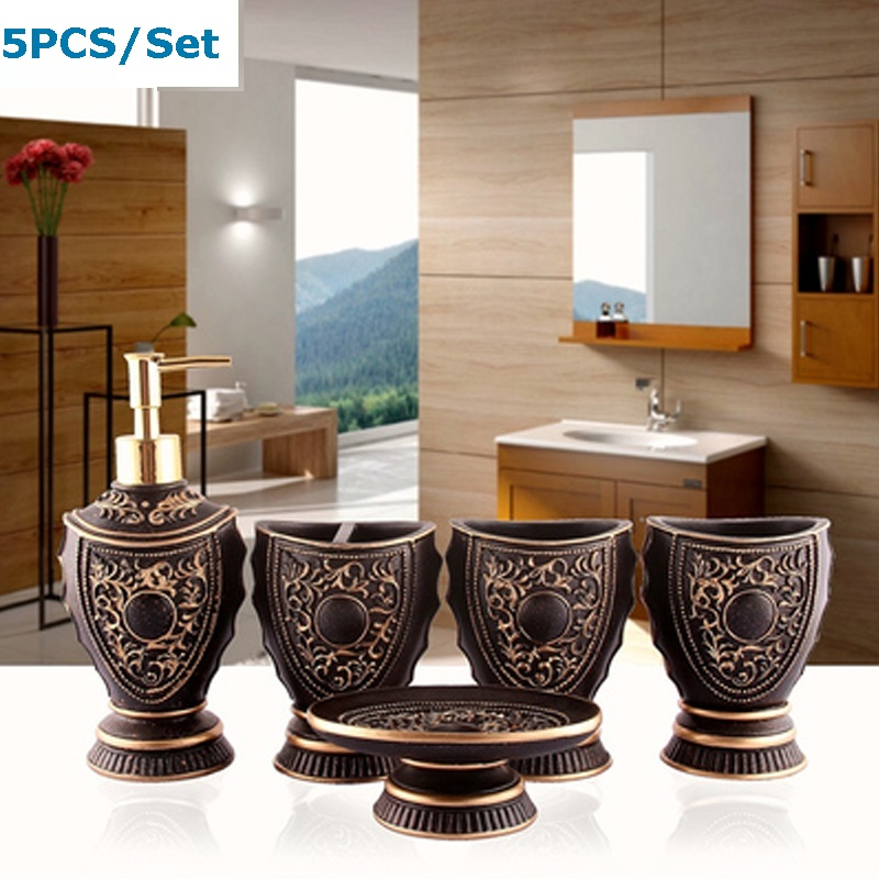 5pcs kit banheiro / Resin wash bathroom set / Soap Dispenser/Toothbrush Toothpaste Holder/Tumbler/ suite set bathroom Wedding