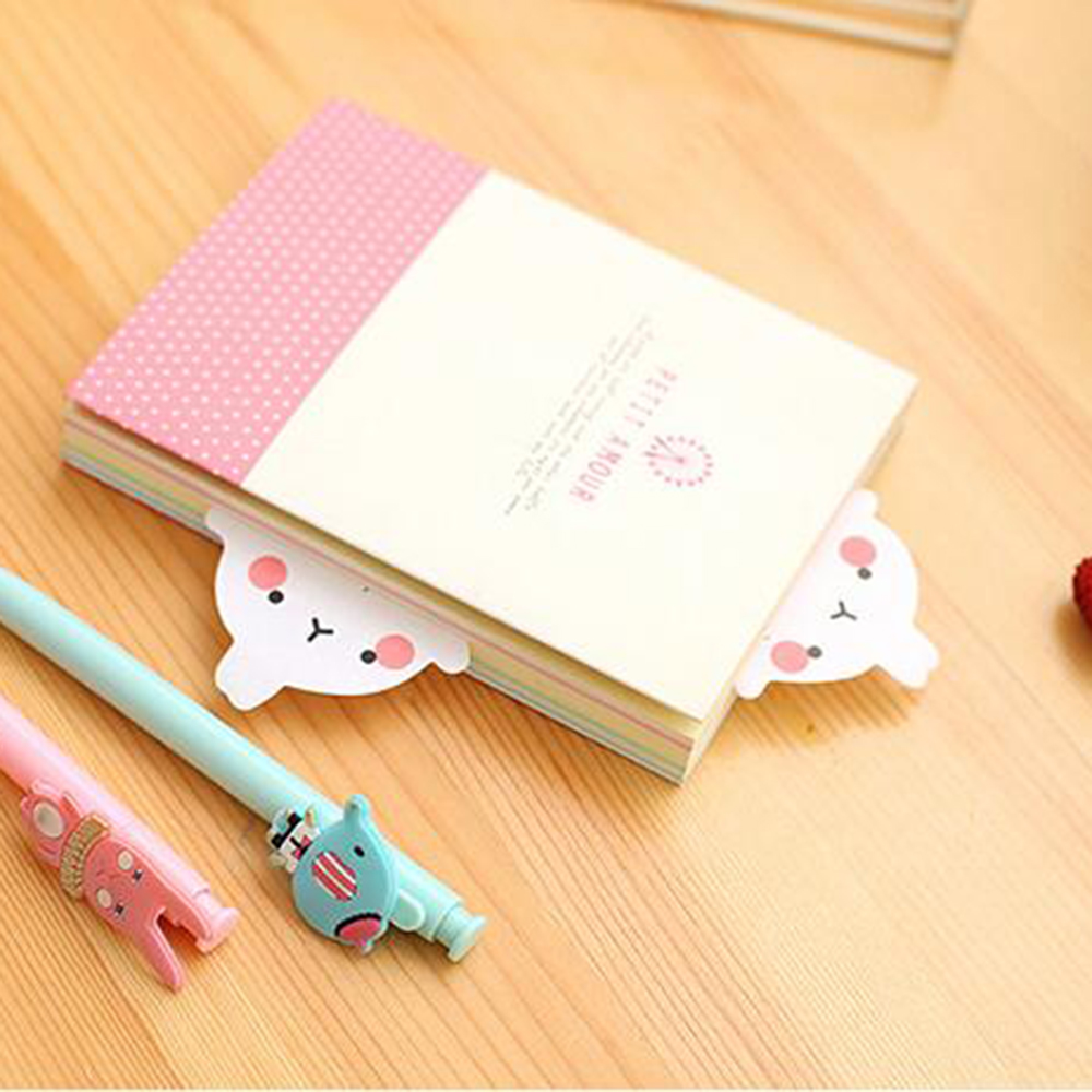 Cute Molang Rabbit Self Adhesive Memo Pad Sticky Notes Sticker Label Escolar Papelaria School Office Supply in Memo Pads from Office School Supplies