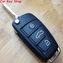 GOOD QUALITY ! New 3 Buttons Folding Key Remote Case Shell For Audi A2 A3 A4 A6 A6L A8 TT WITH LOGO