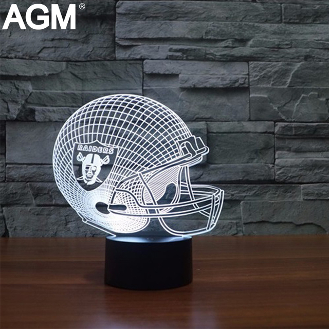 3D NFL Helmet Shape Table lamp Touch 7 Colors Changing Oakland Raiders Sleeping Lampara Light Acrylic USB 3D LED NightLight