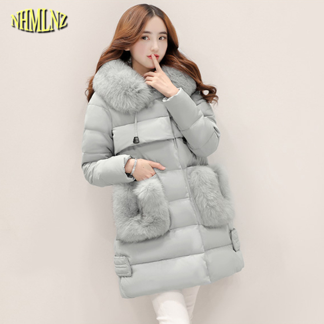 eee4ec3f0ea7e New Winter Women Jacket Korean style long Fur collars Slim Cotton coat High  quality Fashion Warm Elegant Female Outerwear WKM089