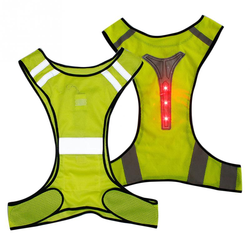 High Visibility Soft Cycling Vest Comfortable Led Reflective Stripes Waistcoat Safety Breathable Working Activities Running Cycling Vest