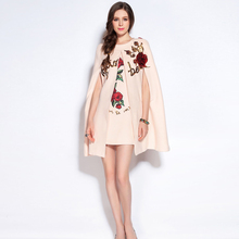 HIGH QUALITY Fashion 2017 Designer Runway Print Dress Set Women's Batwing Sleeve Rose Sequins Beading Cloak Cape Wrap Wool Coat(China)