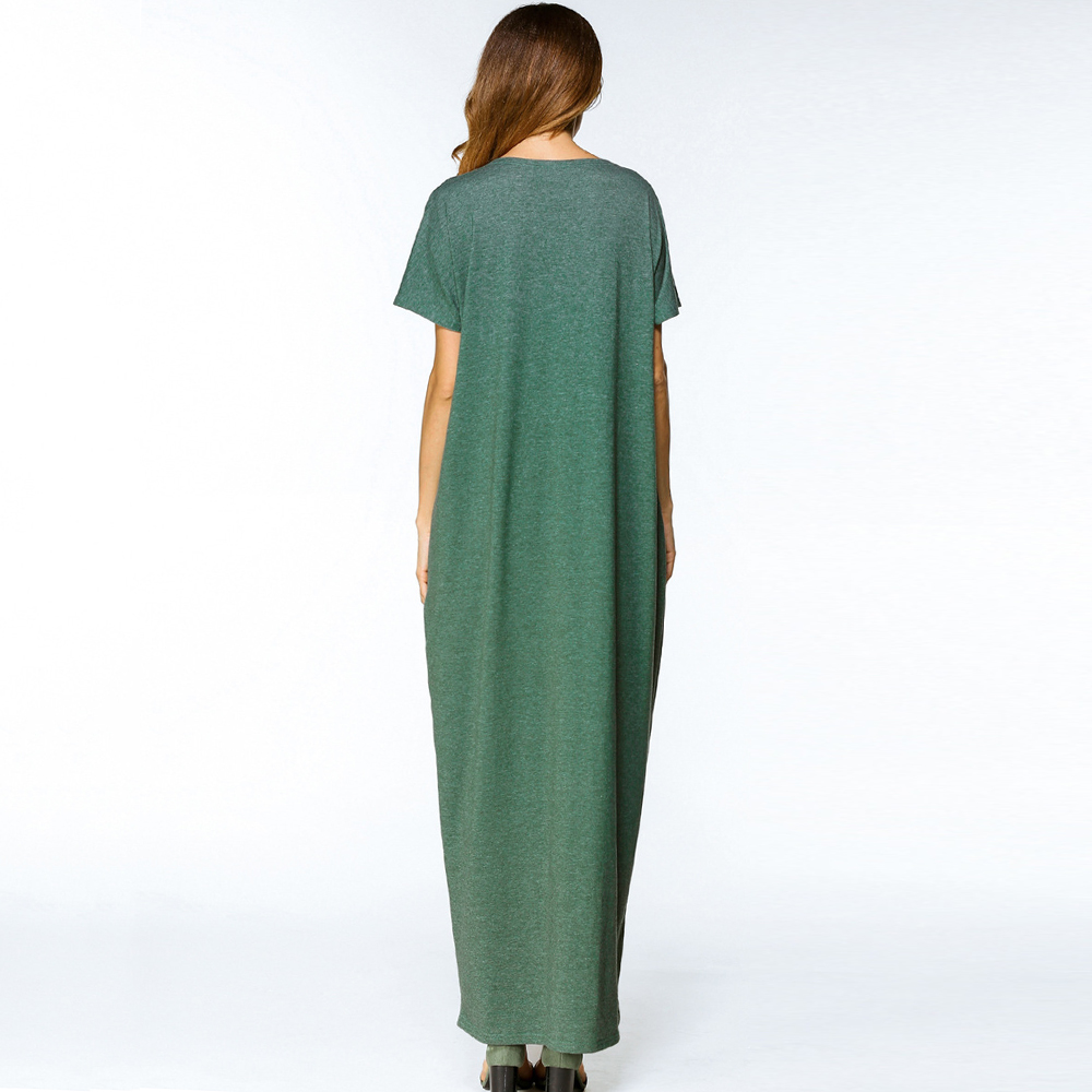 Abaya Islamique Longue Casual Manches Robe Musulman Moyen Green D'été Cou O Chaude Imprimer Maxi 2018 orient Longues Lâche Vente Femmes 0qWZgg