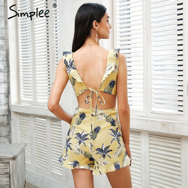 Simplee Hollow out women jumpsuit summer Backless lace up sexy romper Ruffle v neck beach playsuit female short overalls 2018 4
