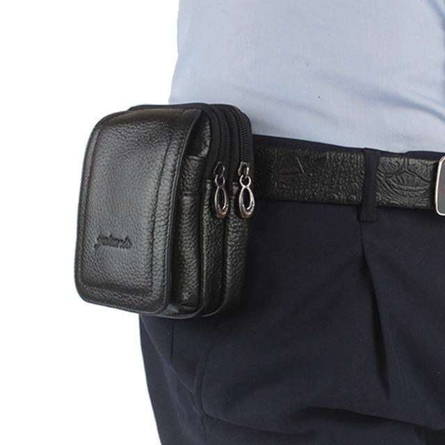 Homens de Couro Genuíno pacote de Cintura Do Couro Saco Do Telefone Móvel Celular Case Capa Bolsa de Cinto Bolsa Bloco de Fanny