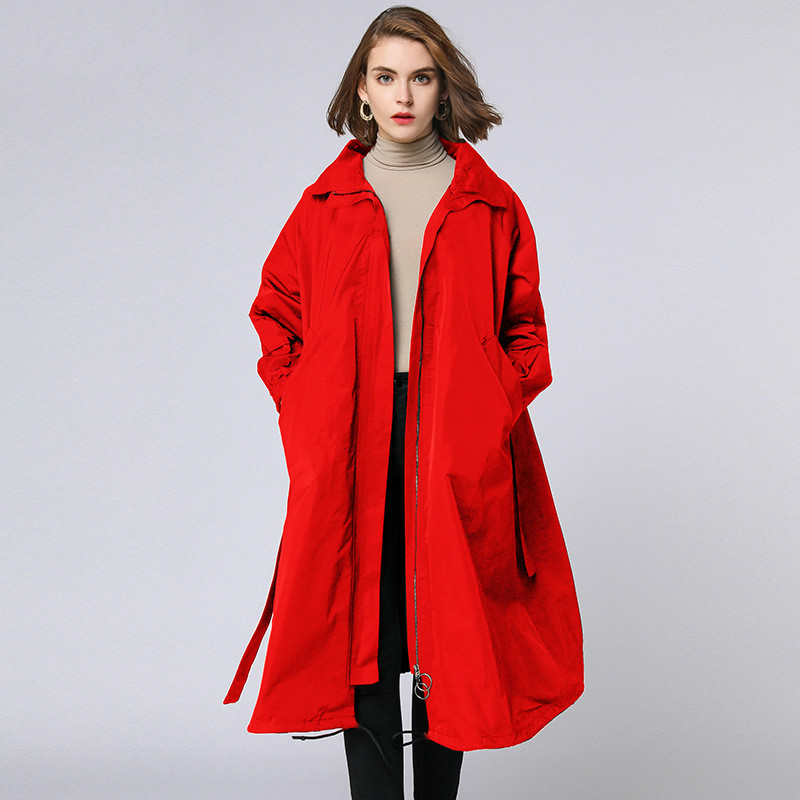 TUHAO Plus Size Overcoat Windbreaker 2019 Spring Autumn Zipper Pocket Long Coats With Sashes Slim Waist Women's   Trench   TP7056
