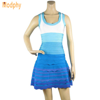 2017 new style sweety blue/pink ball gown ruffles sleeveless tank mini sexy prom cocktail club-wear bandage dress HL273