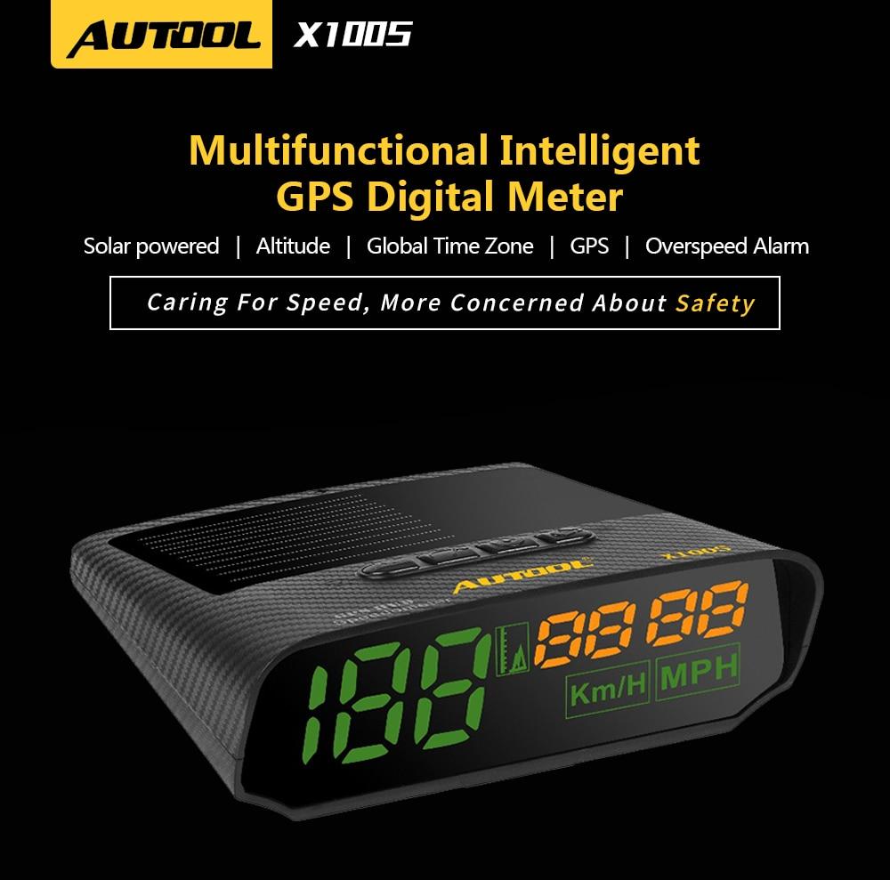 Autool X100 GPS Digital Head-Up Display Alarm Speedometer KMH//MPH For Car Motor