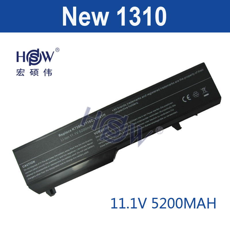 HSW 5200MAH 6cells Laptop Battery For dell Vostro 1310 1320 1510 1520 1521 2510 K738H N950C N956C N958C T112C T114C T116C U661H jigu laptop battery for dell 8858x 8p3yx 911md vostro 3460 3560 latitude e6120 e6420 e6520 4400mah