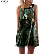 KYKU Brand Skull Dress Women Grim Reaper Short Skeleton Tank Punk Rock Office Metal Ladies Dresses Womens Clothing Tassel New