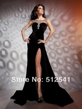 2014 HOT Black Evening Dresses Crew Neck Sheath Column Side Split Rhinestone Sleeveless Satin yk-8A22