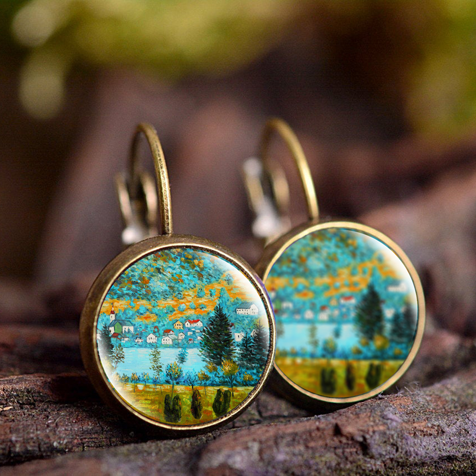 KCALOE Vintage Earrings Jewelry Van Gogh Painting Picture Glass Dome Round Copper Women Earrings Best Gift in Drop Earrings from Jewelry Accessories