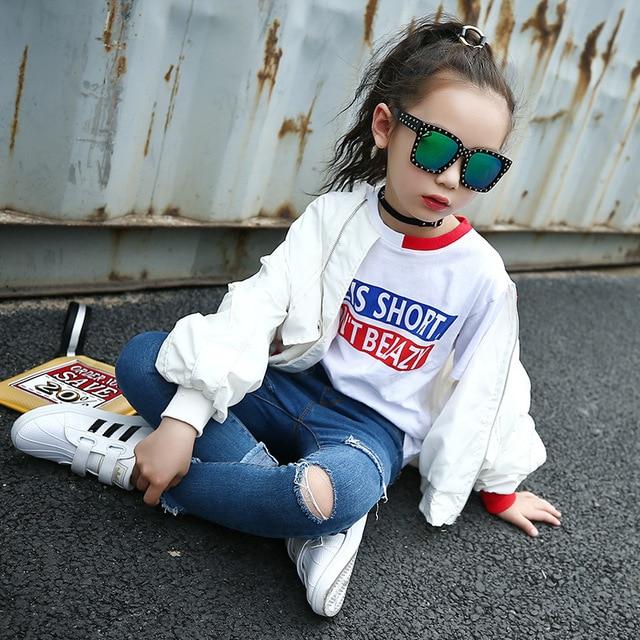 Weixu Children Spring Autumn Coat for Girls Fashion Kids White Bat Sleeves Oversize Biker Jacket Girls School Wear Bomber Jacket