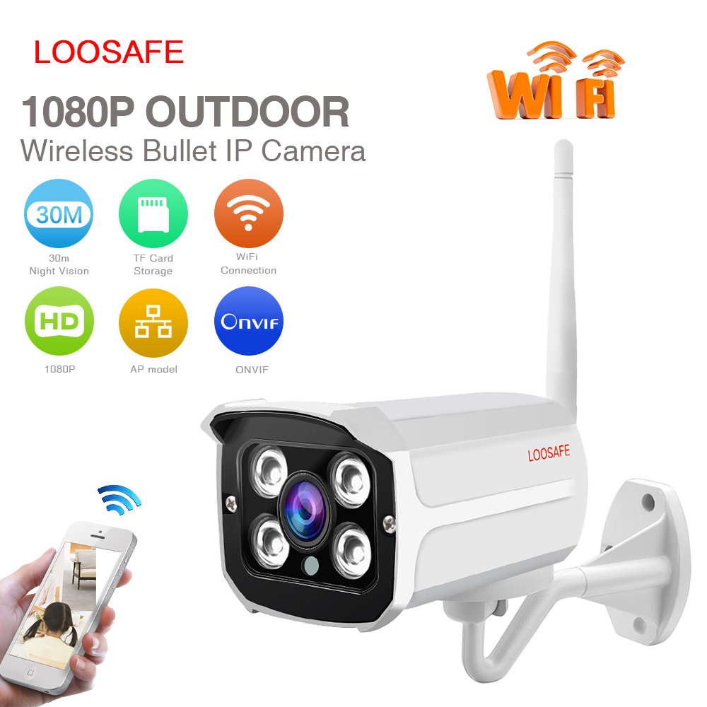 LOOSAFE Waterproof Wifi Outdoor IP Camera CCTV 1080P HD Mini Bullet Camera 4 IR Leds Day/Night Security Home Video Surveillance seven promise 720p bullet ip camera wifi 1 0mp motion detection outdoor waterproof mini white cctv surveillance security cctv