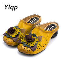 Vintage Leather Baotou Soft Bottom Leisure Shoes With Comfortable And Cool Slippers In National Wind Flower
