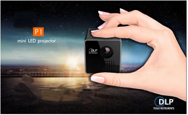 Original unic p1h p1 micro led proyector beamer, una función de batería de mini