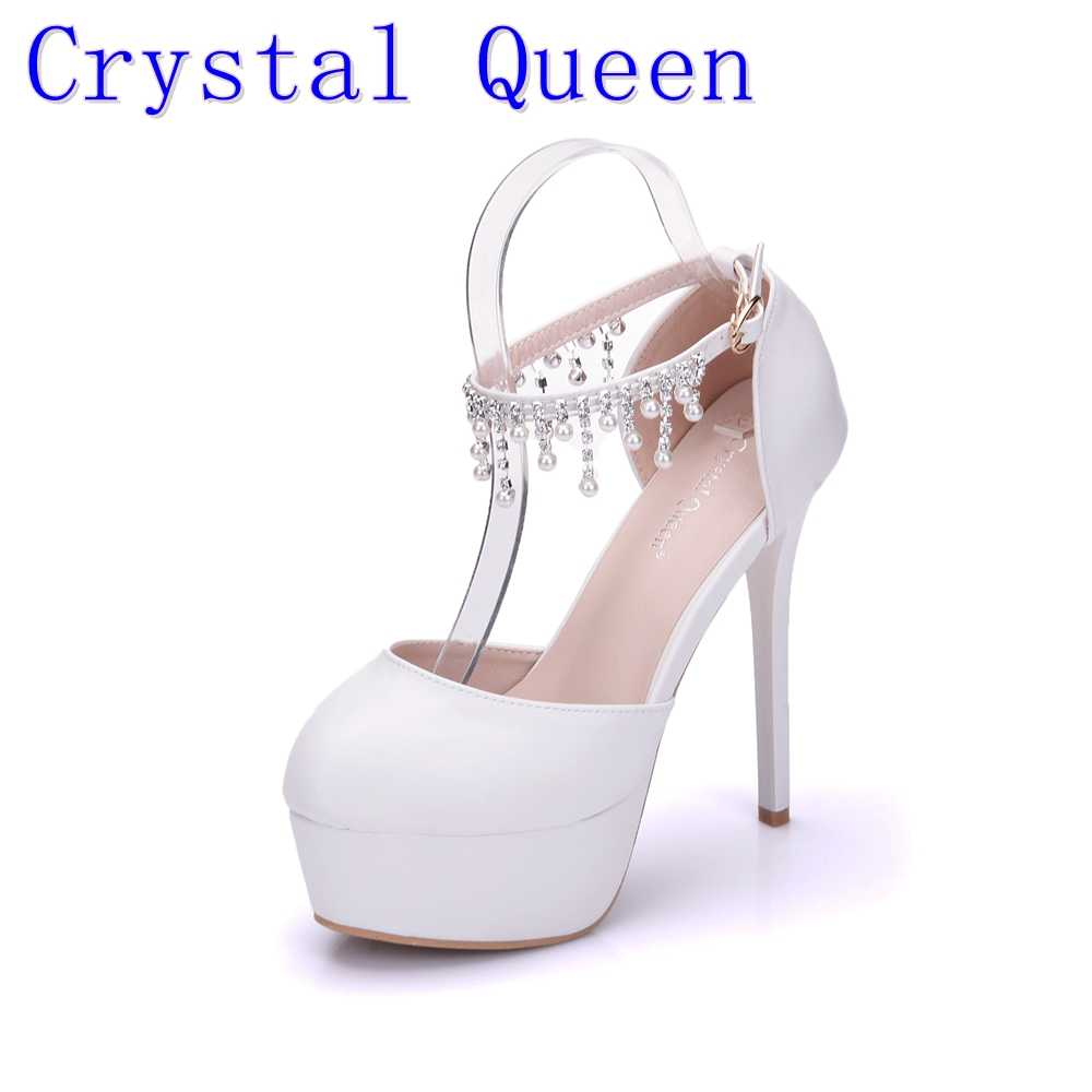 05bbf69c5c5 Crystal Queen Woman White Wedding Shoes High Heel Round Toe Platform Ankle  Pumps Bridal Shoes Prom Dress Shoes Pearls rhinestone