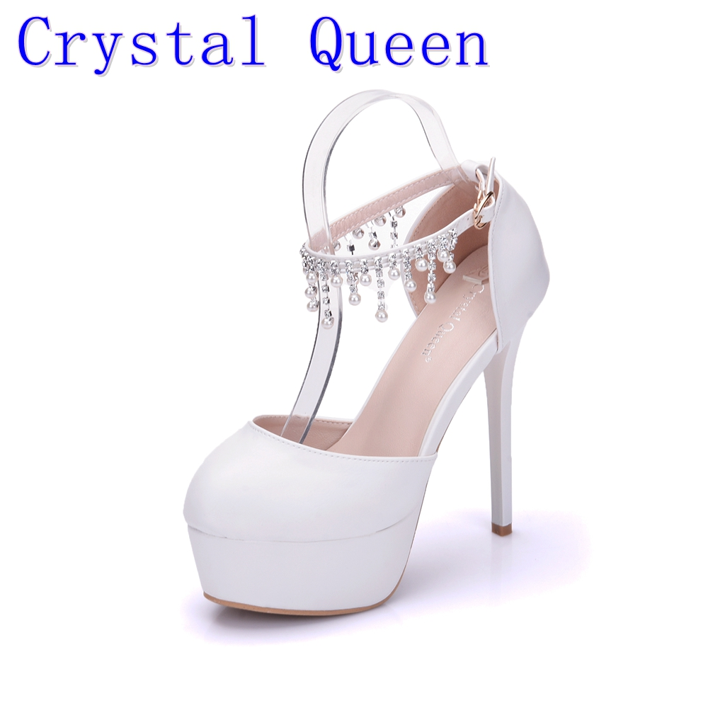 Crystal Queen Woman White Wedding Shoes High Heel Round Toe Platform Ankle Pumps Bridal Shoes Prom Dress Shoes Pearls rhinestone купить