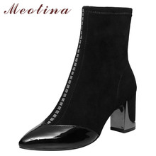 Meotina Genuine Leather Ankle Boots Women Crystal Thick High Heel Elastic Boots Fall Pointed Toe Shoes Ladies Winter Big Size 43