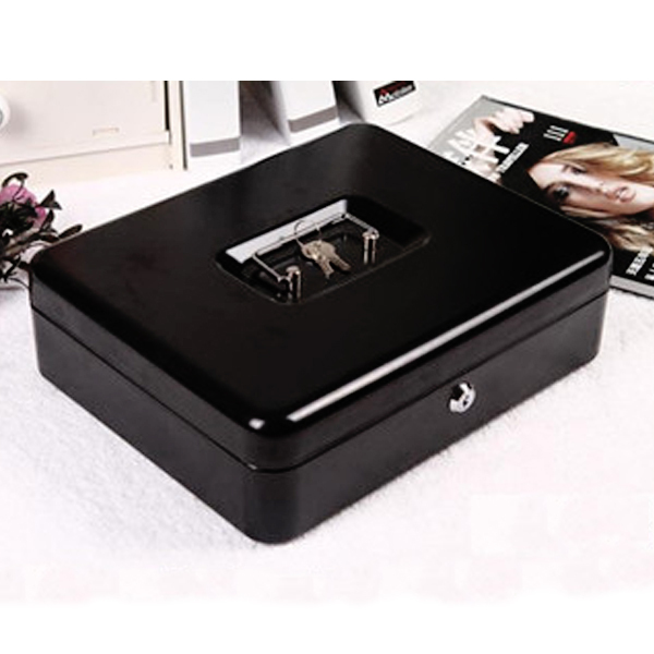 black metal petty cash boxes change tray money holder security safe