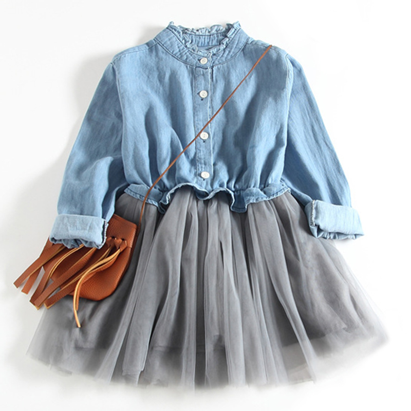 Girls Dress 2018 New Clothing Baby Girls Kids Party Denim Dress Tulle Stitching Dress Princess Girls Dresses Clothes For 2-9Y ems dhl free shipping new v neck baby girls kids sequin dress tulle dress with ruffles 5 colors princess dress casual wear