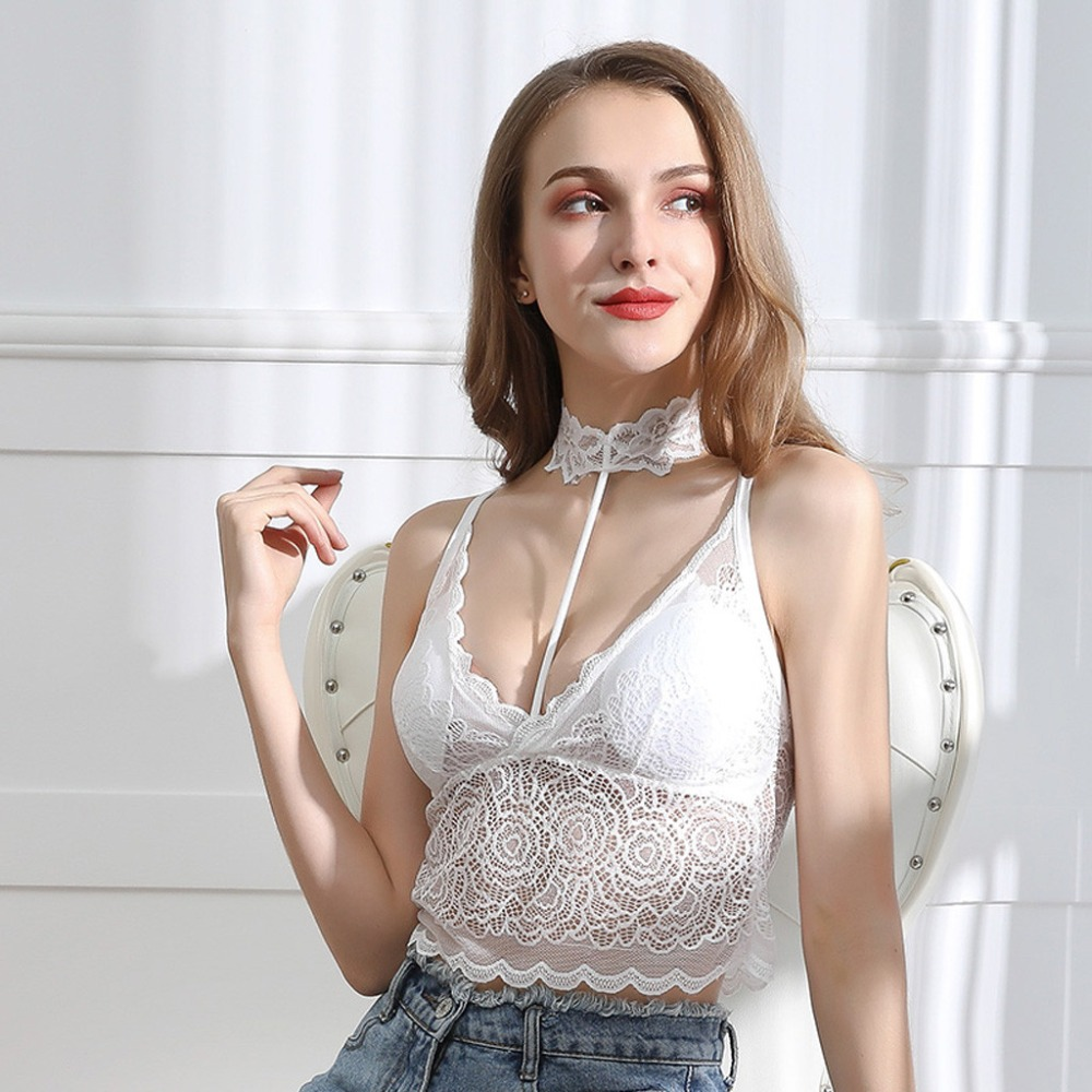 Foxmertor Top 2020 New Tank Top Summer Sexy Slim Solid Cotton Women Sleeveless Halter Pink Black White Bustier