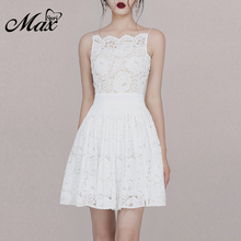 Max Spri 2019 New Fashion Women Elegant Spaghetti Straps Sleeveless Backless Floral Lace A-Line Sashes Feminine Mini Dress