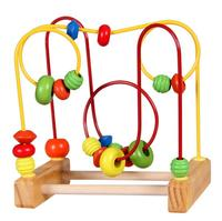 1 SET Counting Round Bead Wire Maze Roller Coaster Wooden Early Educational Toy For Baby Kids