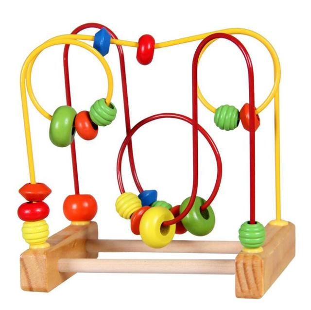 73d16e11955fd 1 SET Counting Round bead Wire Maze Roller Coaster Wooden early Educational  Toy for Baby Kids