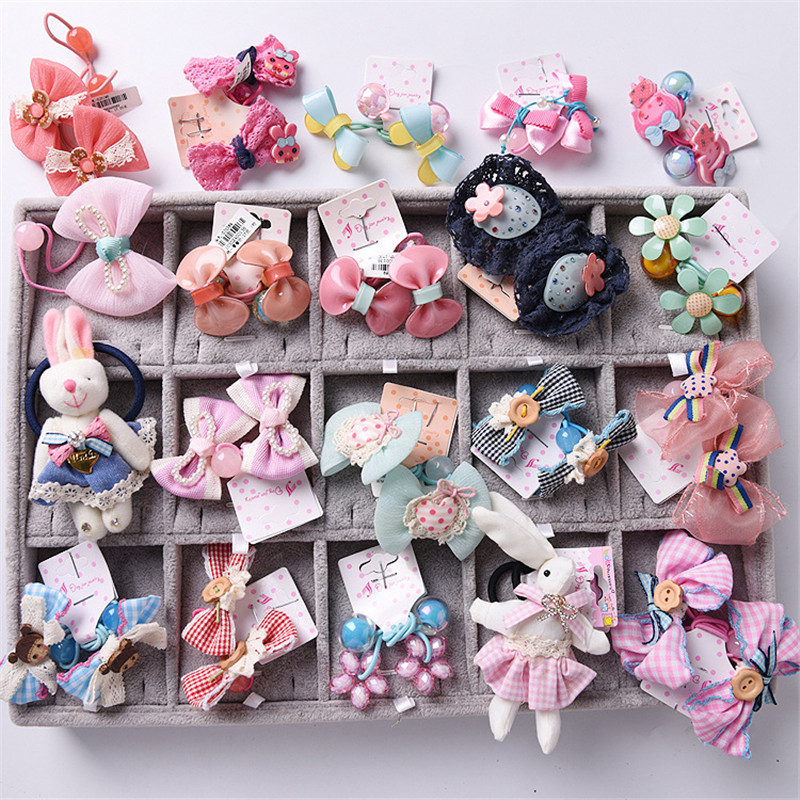 4pcs Lovely Flower Animal Lace Bow Children Hair Ropes Elastic Rubber Hair Bands Girls Hair Accessories Baby Kids Headwear akwzmly 20 pcs girls headband flower hair elastic bands scrunchy ponytail holder accessories bow animals pattern ropes ties