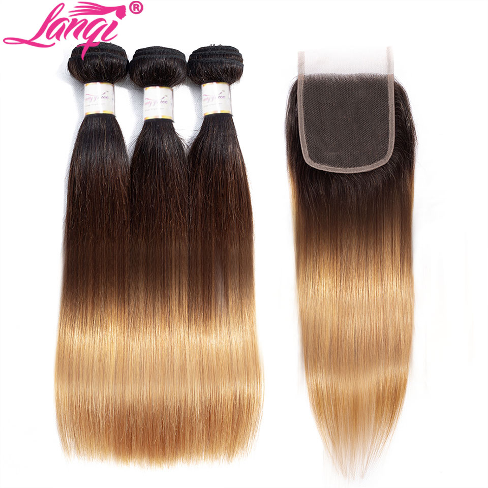 Brazilian Straight Human Hair Weave Bundles With Closure Blonde Bundles With Closure 1b/4/27 3 Tone Ombre Bundles With Closure