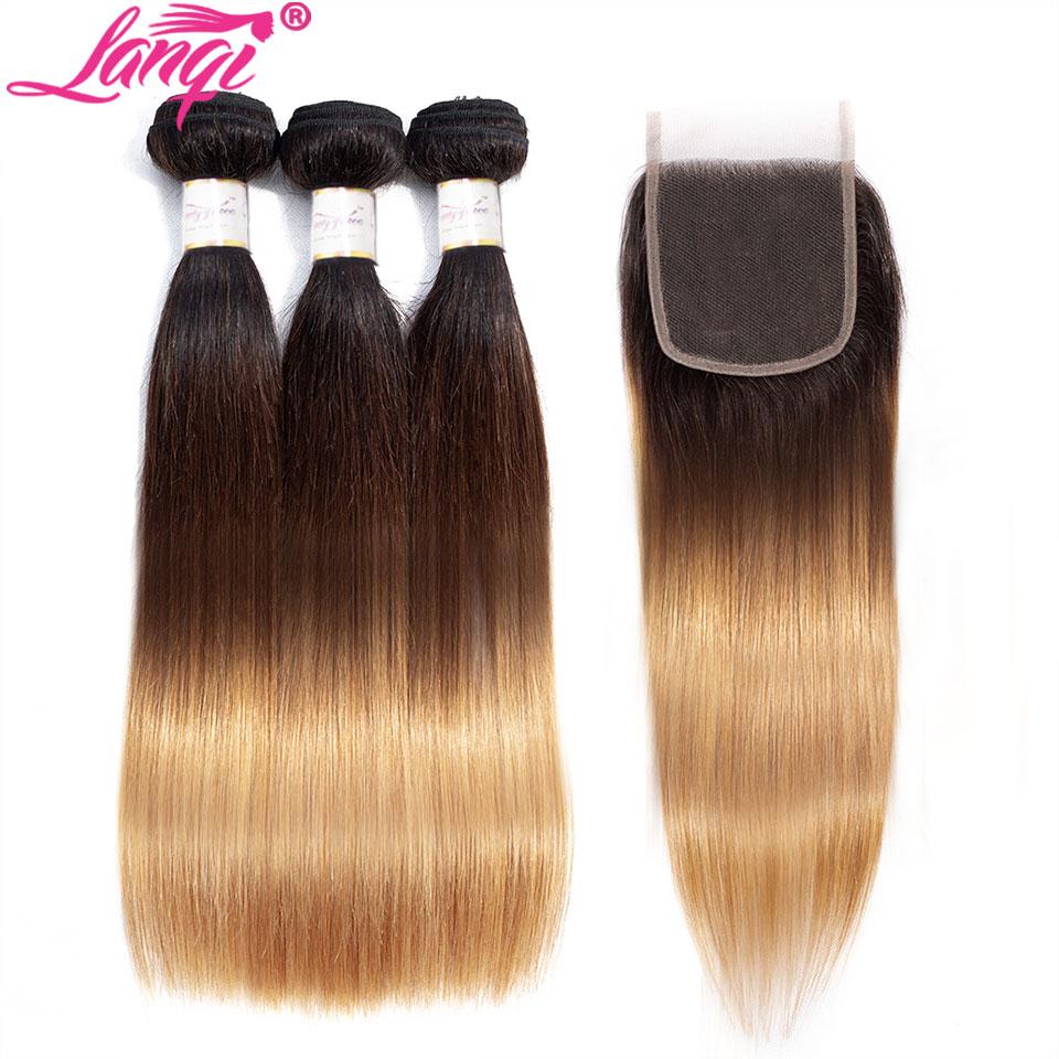 Brazilian Straight Human Hair Weave Bundles With Closure Blonde Bundles With Closure 1b/4/27 3 Tone Ombre Bundles With Closure
