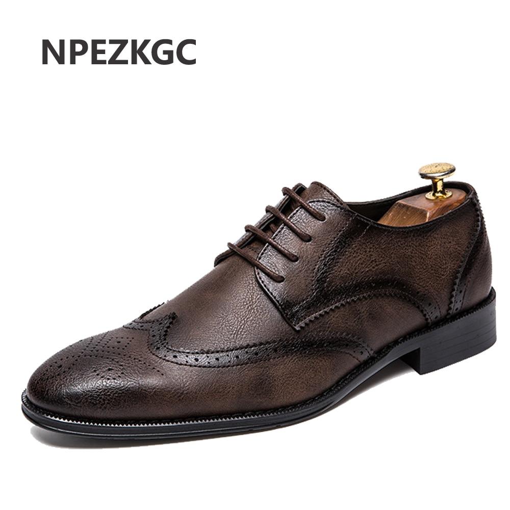 b364ed391d8 NPEZKGC Big Size 38-47 Men Wedding Dress Shoes Black Brown Oxford Shoes  Formal Office