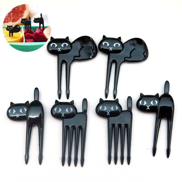 6Pcs Cute Black Cat vegetable Fork child fruit food picks Bento Lunch Box Decor dessert cake forks Cartoon Tableware